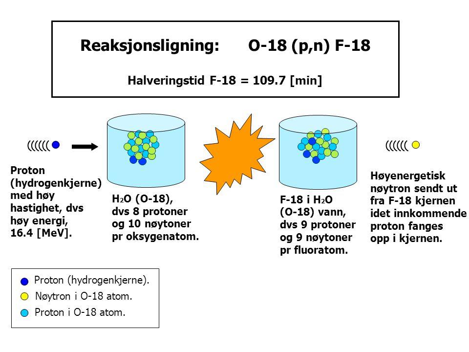 Reaksjonsligning: O-18 (p,n) F-18 Halveringstid F-18 = 109.7 [min]